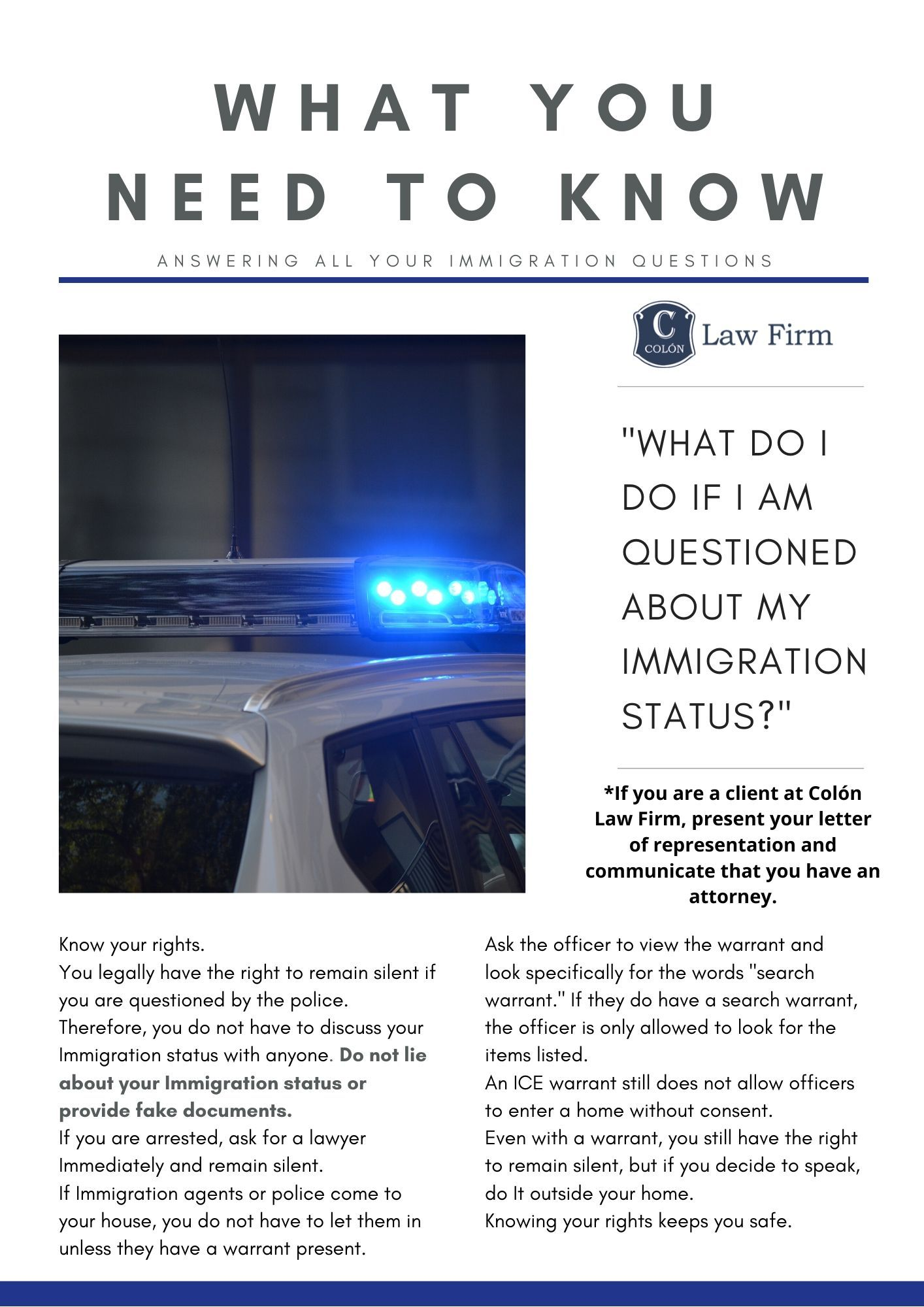 Colon Law Firm Newsletter: What You Need to Know When Questioned About My Immigration Status